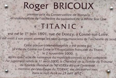 Plaque commémorative Roger Bricoux violoncelliste sur le Titanic
