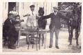 Carte photo DONZY (58) Café restaurant du chemin de fer Lafond Peschery belle animation attelage Phot Gaston Narcy